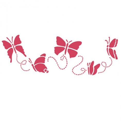 Stencil stamperia farfalle svolazzanti per decoupage
