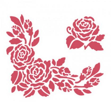 Stencil stamperia centro e angolo rosa per decoupage