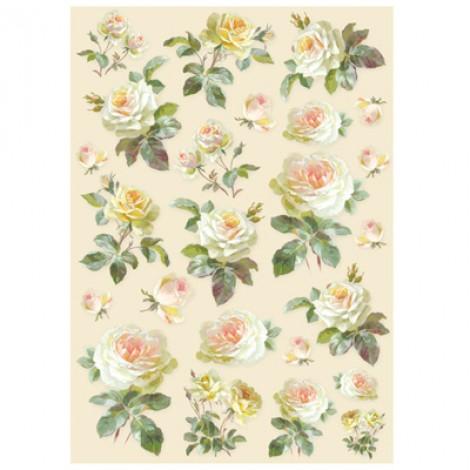 Foglio di carta di riso A4 rose bianche
