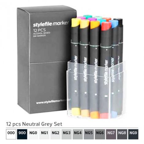 Pennarelli Stylefile Marker 12 pezzi set grigio neutro