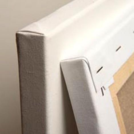 Tela in cotone/poliestere montata a graffe sul retro
