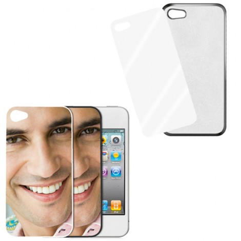 Cover nera con piastrina stampabile - IPhone 4, 4 S