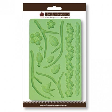 Calco in silicone decoro fiori e foglie