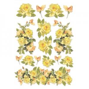 Foglio di carta di riso A4 rose gialle