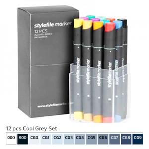 Pennarelli Stylefile Marker 12 pezzi set grigio freddo