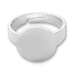 Base anello in metallo rodiato Ø 12 mm