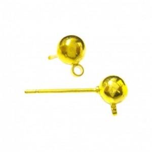 Orecchino perno color oro con anellino - 5 mm