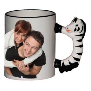 Tazza Neutra Manico Animale Zebra