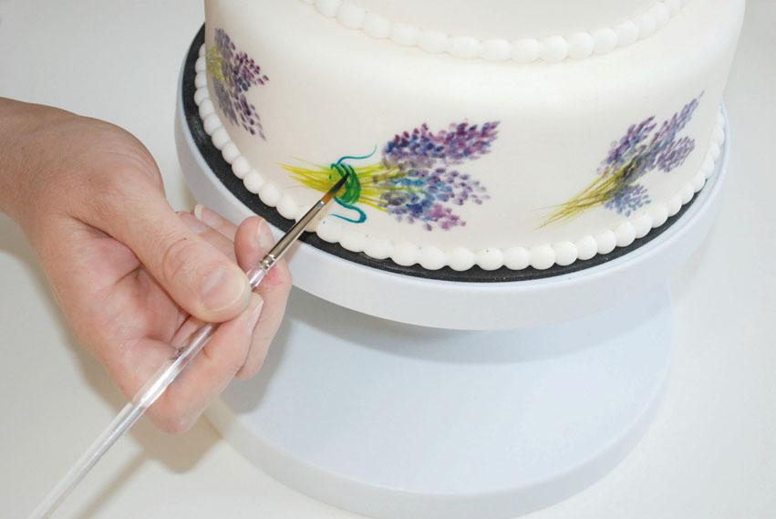 Decorazione torta con polveri coloranti