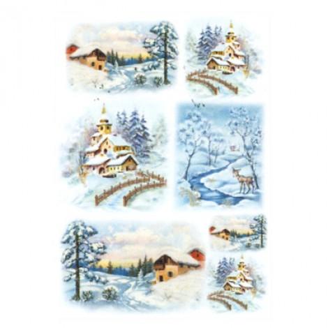 Foglio di carta di riso A4 paesaggi natalizi innevati