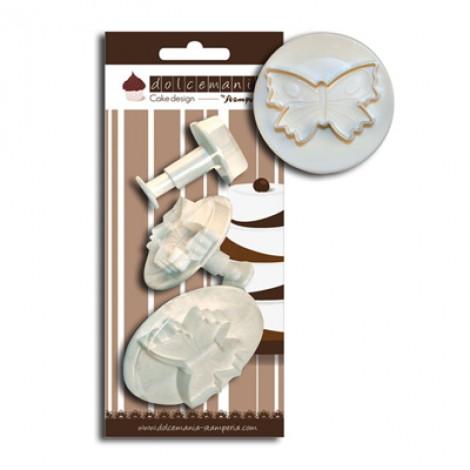 Set 3 stampi ad espulsione a forma di farfalla