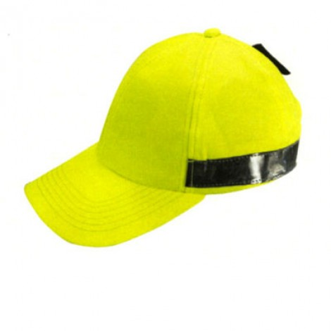 Cappello 6 pannelli con tessuto e nastro alta visibilità. Confezione da 10 pezzi.