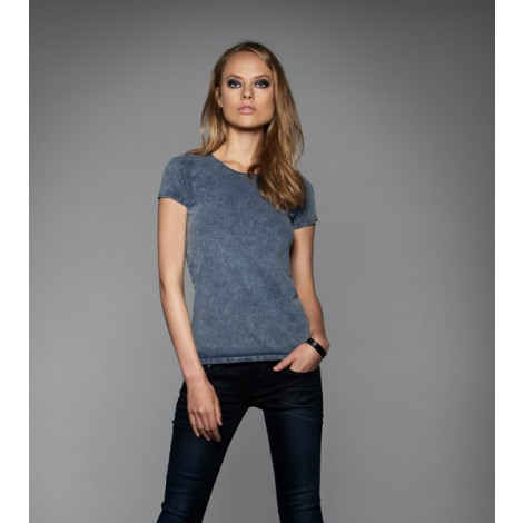 TSHIRT DONNA MANICA CORTA. B&C DNM EDITING WOMEN. COLORE RAW BLUE. CONF. 5 PEZZI.