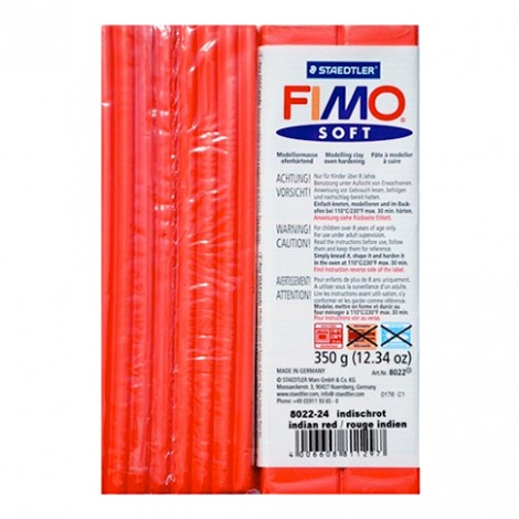 FIMO SOFT ROSSO INDIANO 24 350 GR