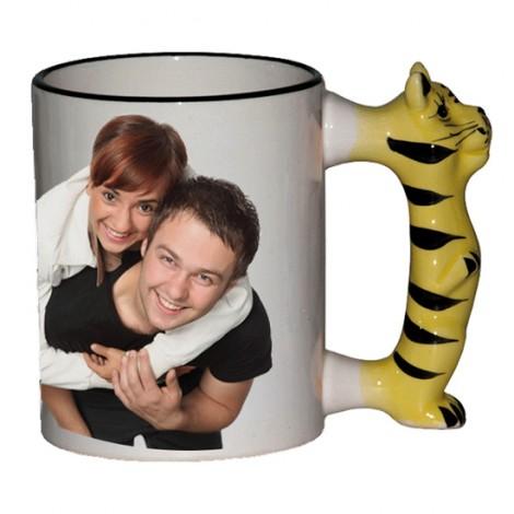 Tazza Neutra Manico Animale Tigre