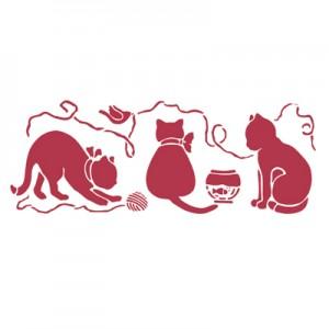 Stencil stamperia gatti e gomitoli per decoupage