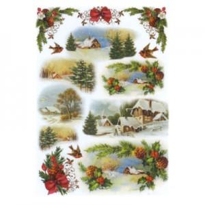 Carta di riso paesaggi natalizi con ghirlande