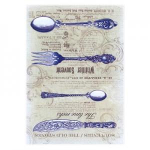 Carta di riso posate blu vintage