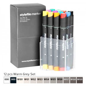 Pennarelli Stylefile Marker 12 pezzi set grigio caldo