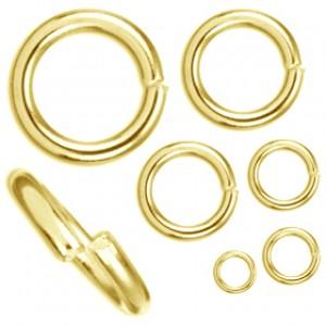 Anellini aperti in metallo color oro in diverse misure